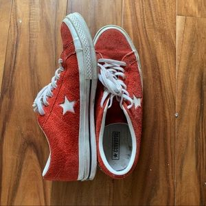 Red Suede Converse One Stars